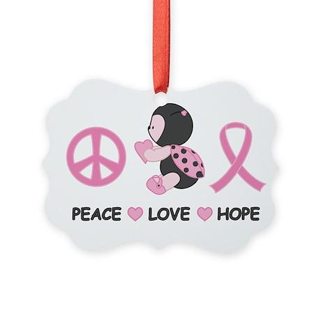 Ladybug Peace Love Hope Picture Ornament