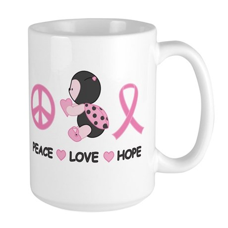 Ladybug Peace Love Hope Large Mug