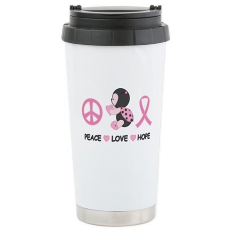 Ladybug Peace Love Hope Stainless Steel Travel Mug