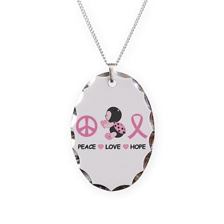 Ladybug Peace Love Hope Necklace Oval Charm