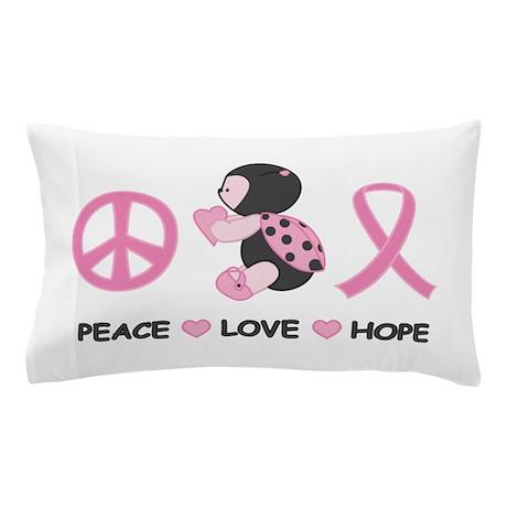 Ladybug Peace Love Hope Pillow Case
