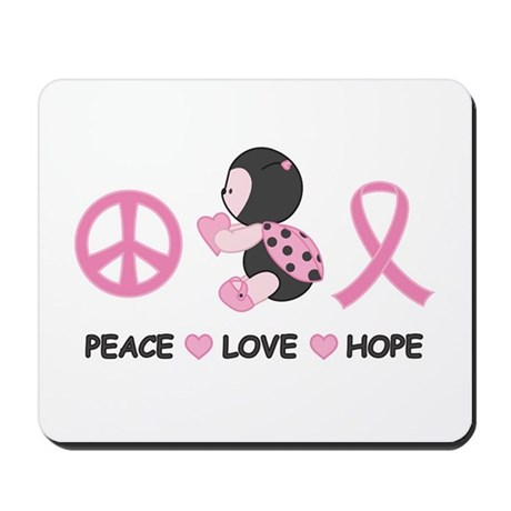 Ladybug Peace Love Hope Mousepad
