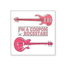 "COUPON ROCKSTAR! Square Sticker 3"" x 3"""