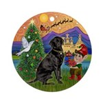 Xmas Fantasy & Black Lab Ornament (Round)