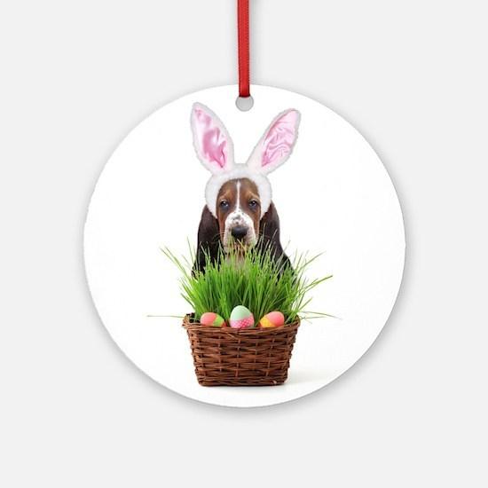 Easter Basset Hound Ornament (Round)