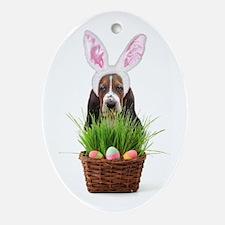 Easter Basset Hound Ornament (Oval)