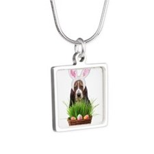 Easter Basset Hound Silver Square Necklace