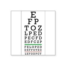 "Eye Chart Square Sticker 3"" x 3"""