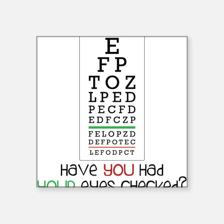 "Eyes Checked Square Sticker 3"" x 3"""