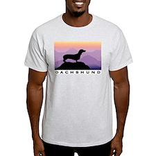 dachshund dog purple mt. Ash Grey T-Shirt
