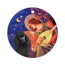 Mandolin Angel & Poodle (ST-blk) Ornament (Round)