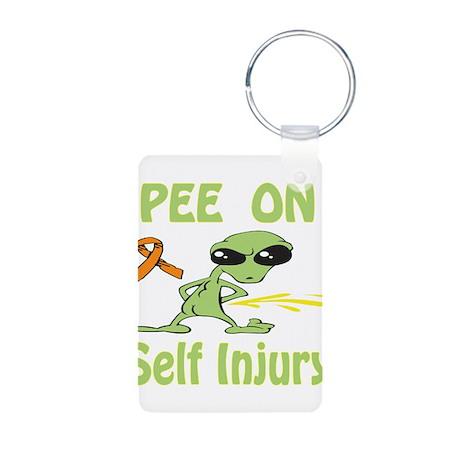 Pee on Self Injury Aluminum Photo Keychain