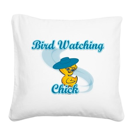 Bird Watching Chick #3 Square Canvas Pillow