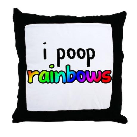 i poop rainbows Throw Pillow