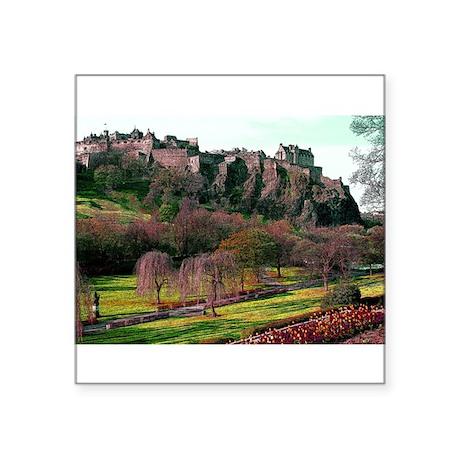 """Edinburgh Castle View Square Sticker 3"""" x 3"""""""