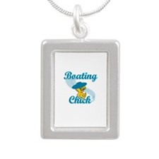 Boating Chick #3 Silver Portrait Necklace