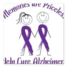 "Help Cure Alzheimers Square Car Magnet 3"" x 3"""