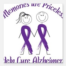 """Help Cure Alzheimers Square Car Magnet 3"""" x 3"""""""