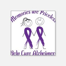 "Help Cure Alzheimers Square Sticker 3"" x 3"""