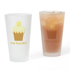 Vanilla Cupcake and Text. Drinking Glass