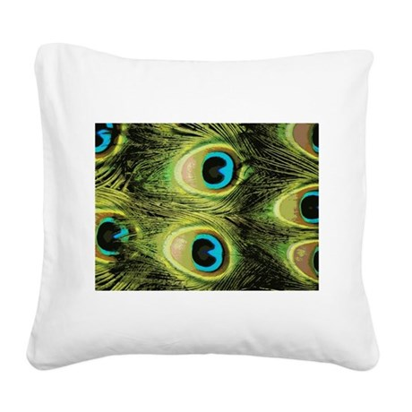 Peacock Feathers Macro Square Canvas Pillow