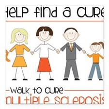 "Walk To Cure Square Car Magnet 3"" x 3"""