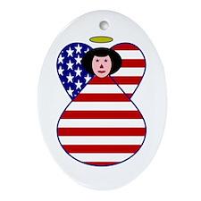 American Flag Angel Black Hair Oval Ornament