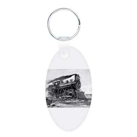 Steam Locomotive Aluminum Oval Keychain