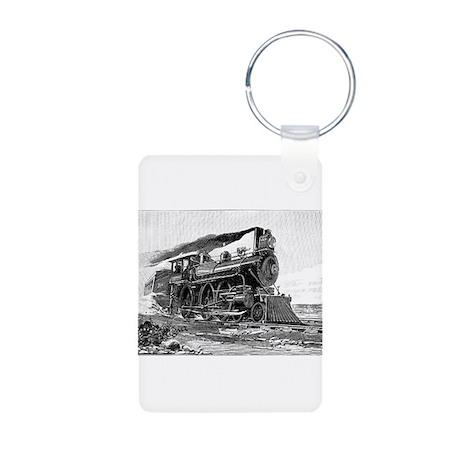 Steam Locomotive Aluminum Photo Keychain