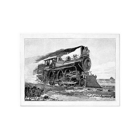 Steam Locomotive 5'x7'Area Rug