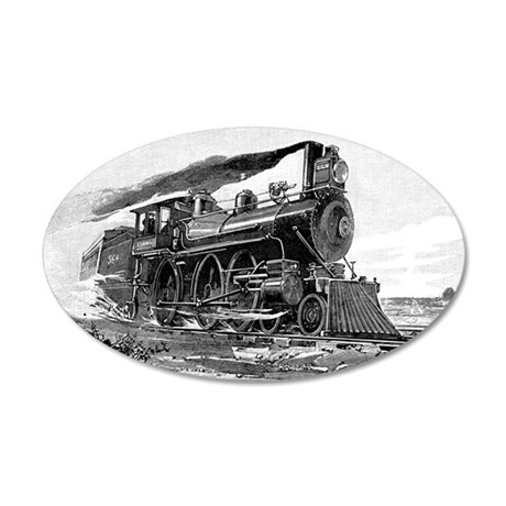 Steam Locomotive 35x21 Oval Wall Decal