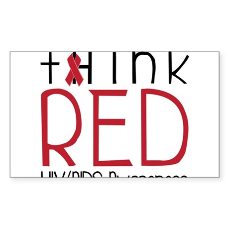 Think Red Sticker (Rectangle)