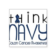 "Think Navy Square Sticker 3"" x 3"""