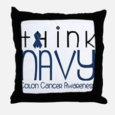 Think Navy Throw Pillow