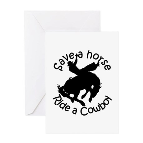 save a cowboyblack2 Greeting Cards