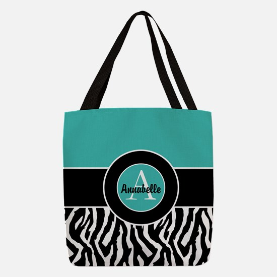 Teal Zebra Monogram Personalized Polyester Tote Ba