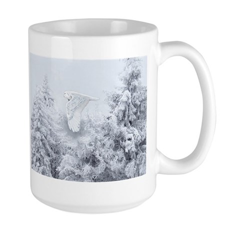 Snowy Owl in Blizzard Large Mug