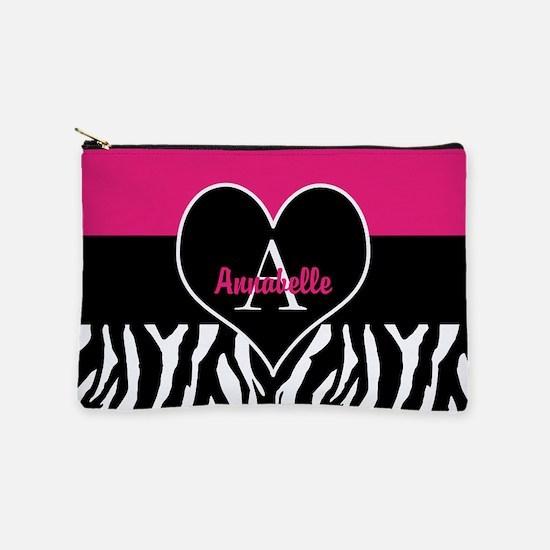 Pink Zebra Heart Monogram Personalized Makeup Pouc