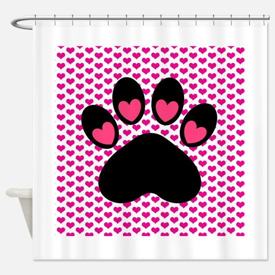 Pink Heart Paw Print Shower Curtain