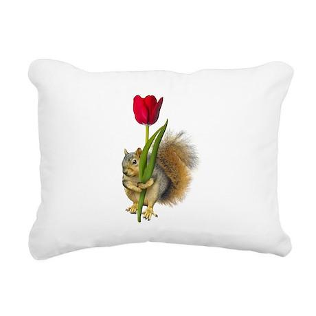 Squirrel Red Tulip Rectangular Canvas Pillow