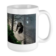 Owl flying out of forest Mug