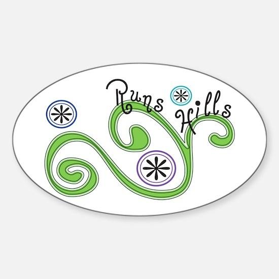 Runs Hills Sticker (Oval)