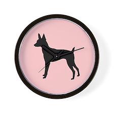 toy fox terrier retro pink Wall Clock