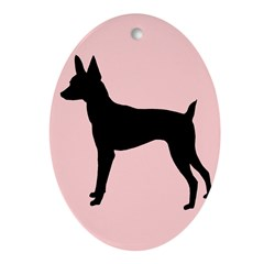 toy fox terrier retro pink Oval Ornament