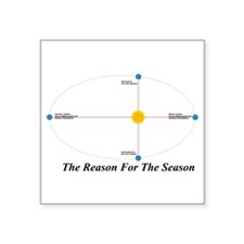 The Reason for the Seasons - black Square Sticker