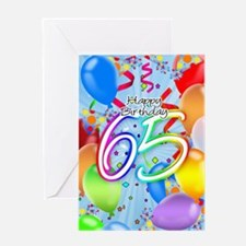 65th Birthday Greeting Card With Balloons