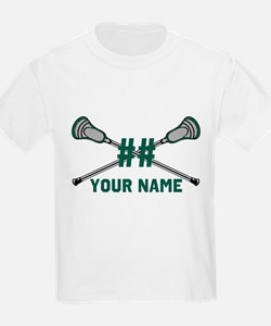 Personalized Crossed Lacrosse Sticks Green T-Shirt