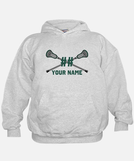 Personalized Crossed Lacrosse Sticks Green Hoodie