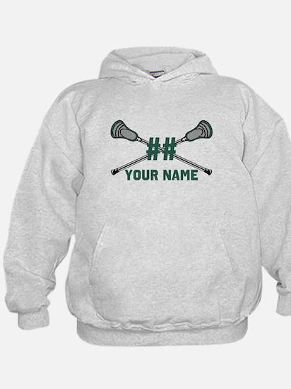 Personalized Crossed Lacrosse Sticks Green Hoody