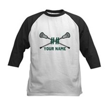 Personalized Crossed Lacrosse Sticks Green Tee